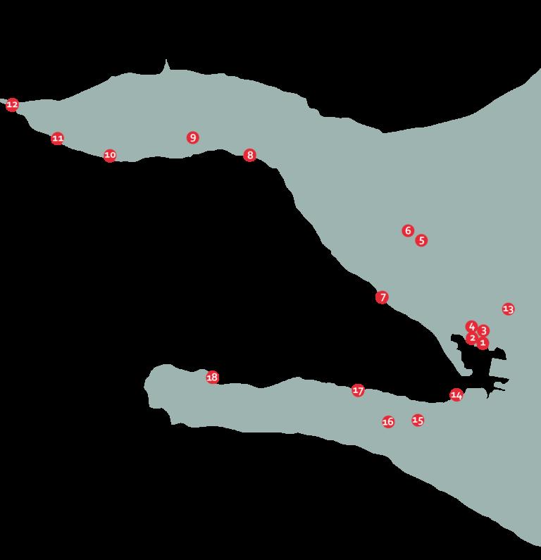 Kort over Lundbye landmarks i Kalundborg