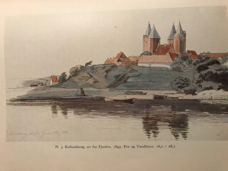 Lundbye: Kallundborg, set fra Fjorden. 1843. Pen og vandfarve. 16,7 x 28,7 cm