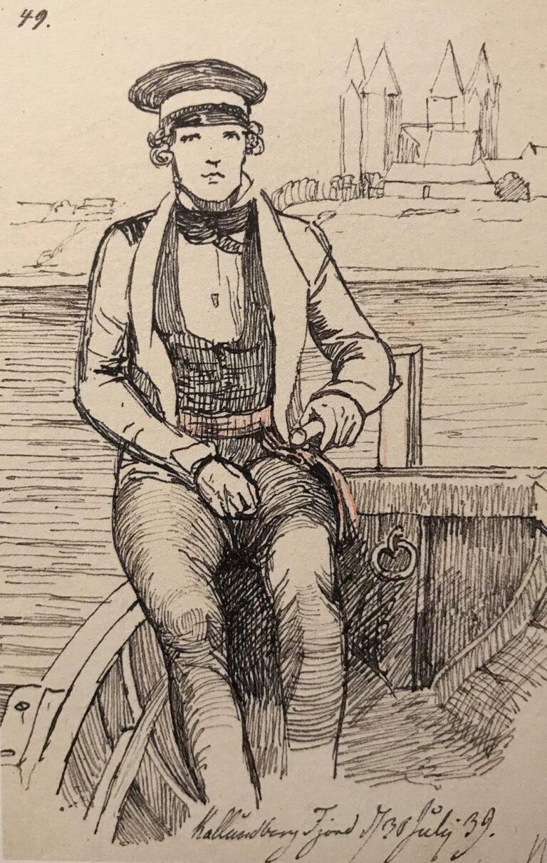 Lundbye: I en båd i Kalundborg Fjord, 1839