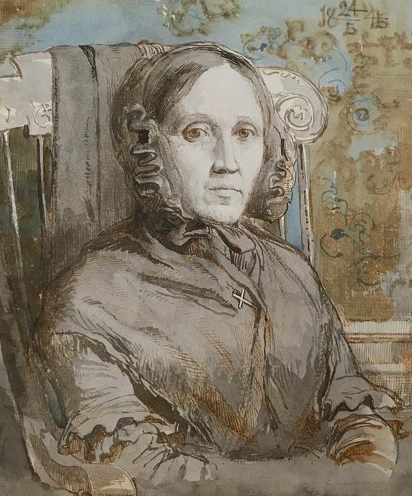 Billede 4 - Portræt af moderen, Cathrine Lundbye, i Kalundborg, 1845. Blyant, pen og vandfarve, 19 x 16,5 cm