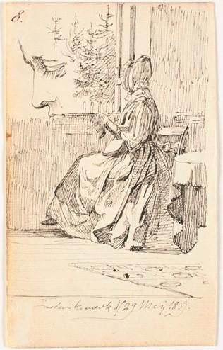 Billede 5 - Moderen med strikketøj, Frederiksværk 1839, blyant