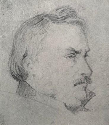 Billede 6 - Lundbyes far, oberst J. T. Lundbye, 1836. Blyant. 11 x 9 cm