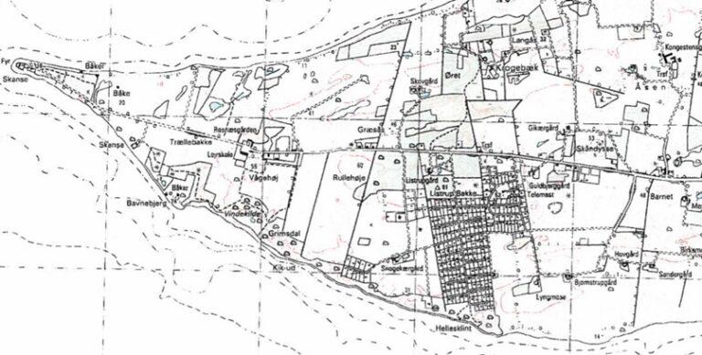 Kort med de lokaliteter, som Lundbye omtaler i dagborgen
