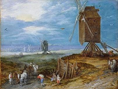 Jan Breugel den Ældre: Landskab med Vindmøller, 1552