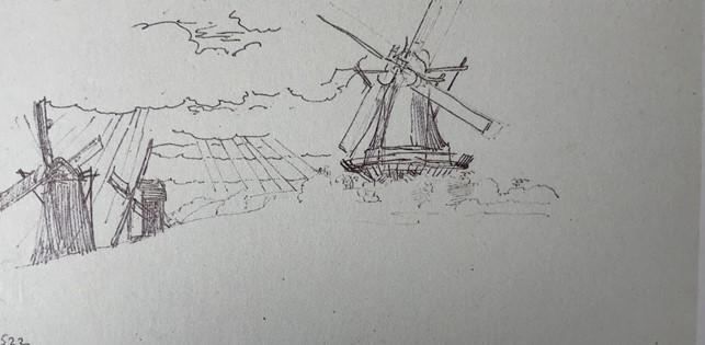 Tegnet skitse af møller på Møllebakken, 1846