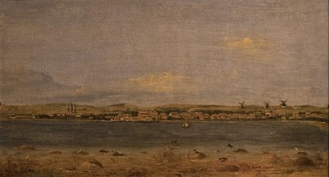 Kalundborg set fra syd. Inderfjorden ved Asnæs.