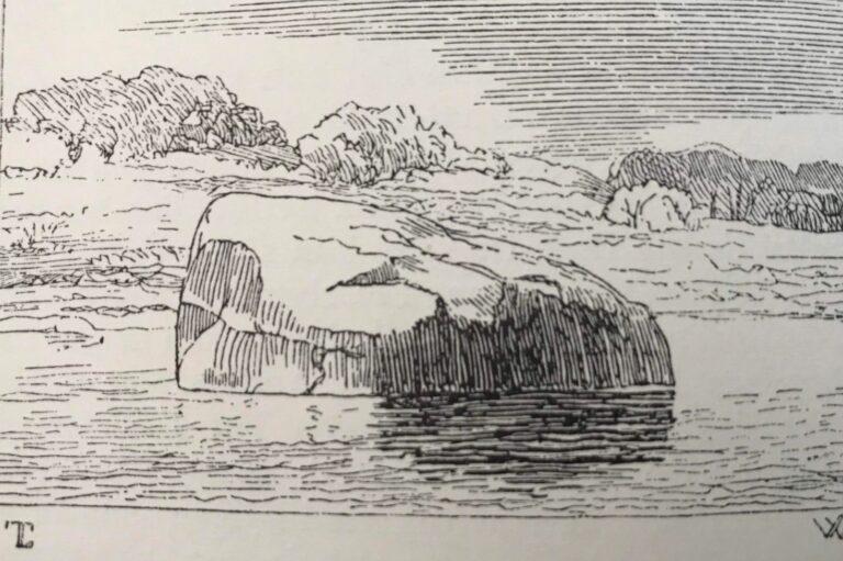 Sortestenen – Radering fra bogen 'Danske Folkesagn', 1843