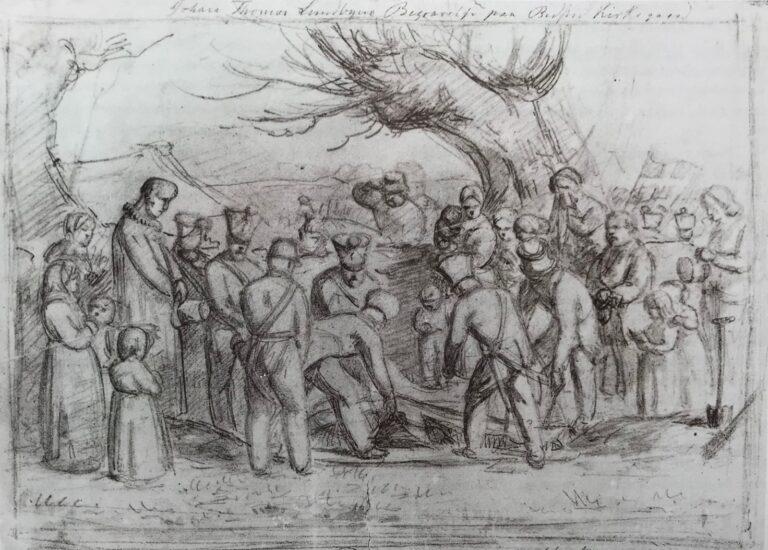 Billede 6 - Carlo Dalgas : J. Th. Lundbyes Begravelse paa Bedsted Kirkegaard, 26. April 1848