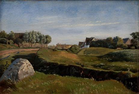 J. Th. Lundbye, Landskab med Vejby set fra nord. Eftermiddagsbelysning. 1843