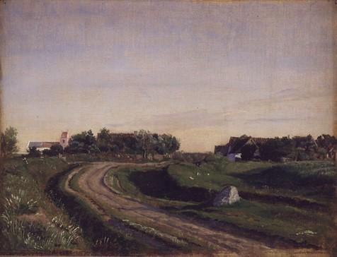 P. C. Skovgaard, Vejby med kirken set fra nord. Aftenbelysning. 1843