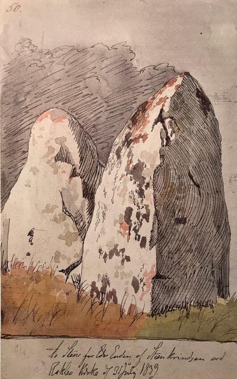 'To Stene for Enden af Stenkrindsen ved Raklev Kirke', 1839